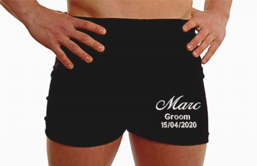 Personalised groom wedding boxer shorts -mixed text - embroidered message underwear - ON THE LEG
